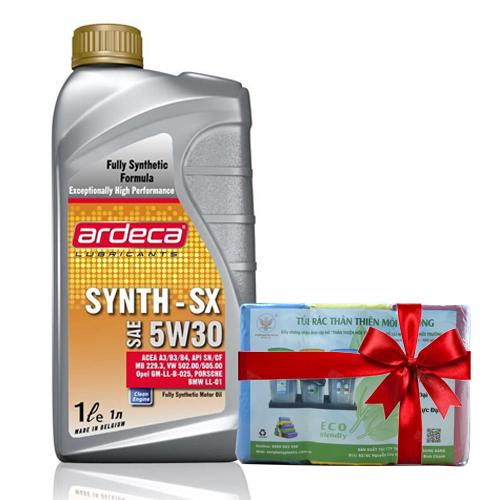 Đầu nhớt Ardeca SYNTH-SX 5W30 xuất sứ Châu Âu dùng cho xe Hơi và xe Tay Ga (1l) + Tặng Tặng kèm bịch túi rác