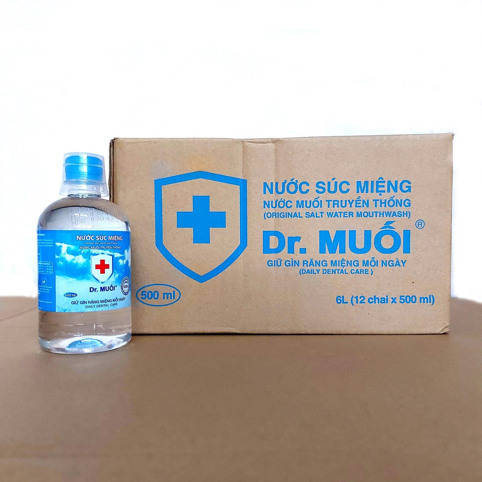 1 Thùng 12 chai Nước súc miệng Dr. Muối truyền thống 500ml