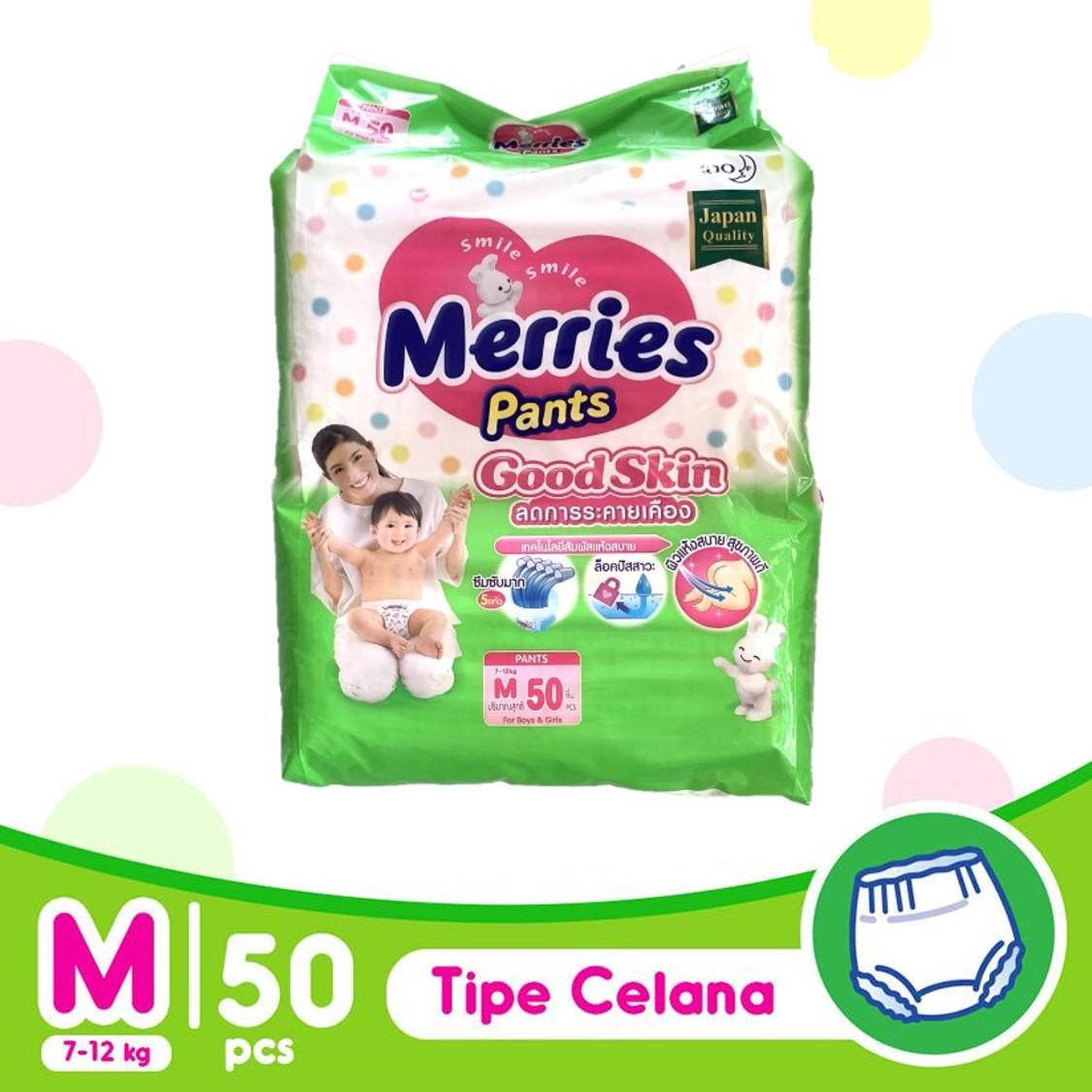 Tã Bỉm Quần Merries (Size M50/ L44/ XL38)