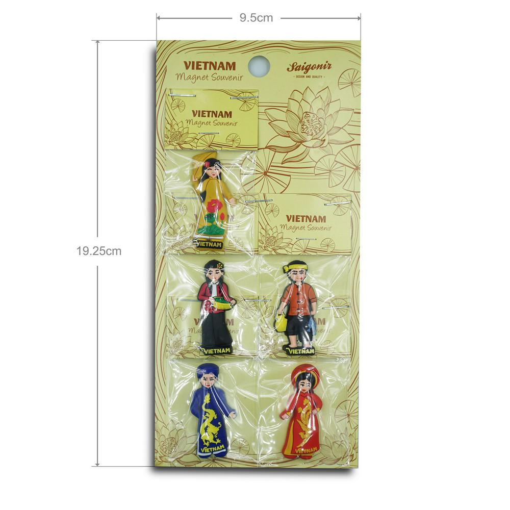 Nam châm lưu niệm - Combo người Việt Nam mặc trang phục truyền thống (mini size)