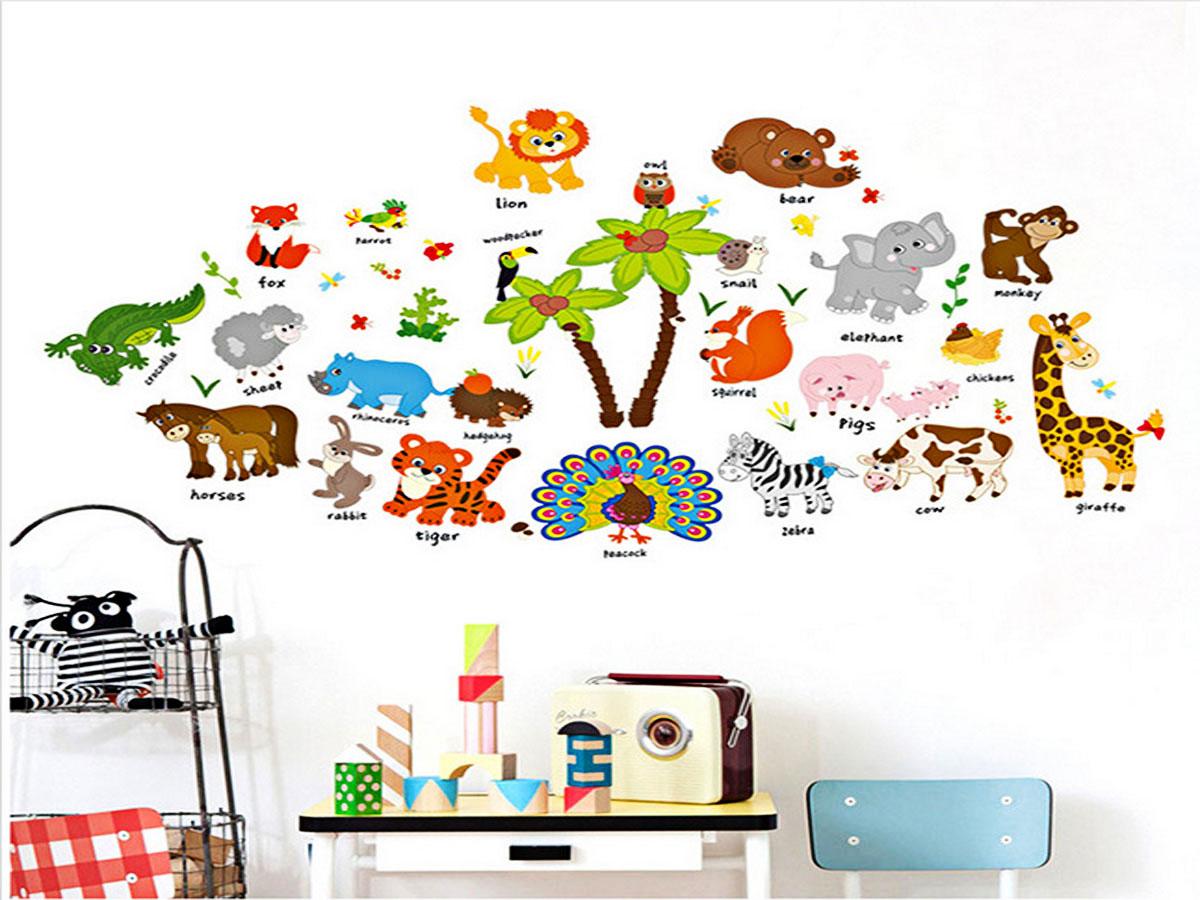 Decal dán tường cho bé thú tiếng anh ngộ nghĩnh sk9296