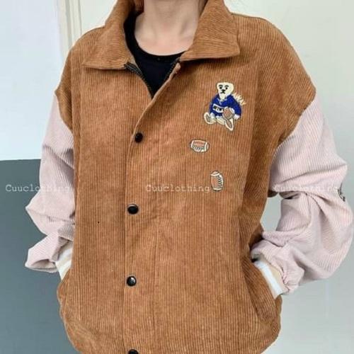 Áo khoác nhung , áo khoác bomber nhung , áo sơ mi nhung , áo khoác unissex, áo khoác nhung cặp đôi logo thêu