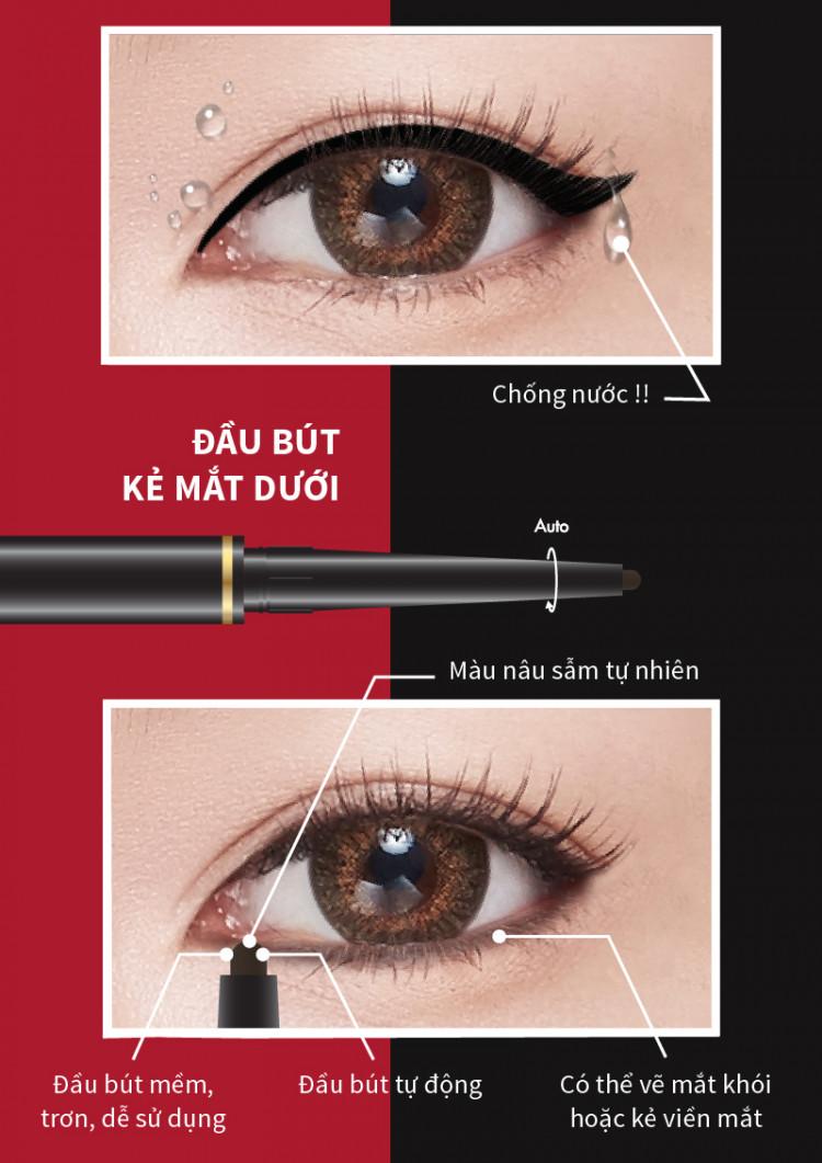 Bút kẻ mắt hai đầu HighTechnique Duo Eyeliner 0.5ml+0.14g 5