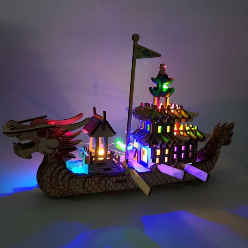 Đồ chơi lắp ráp gỗ 3D Mô hình Thuyền Rồng Laser