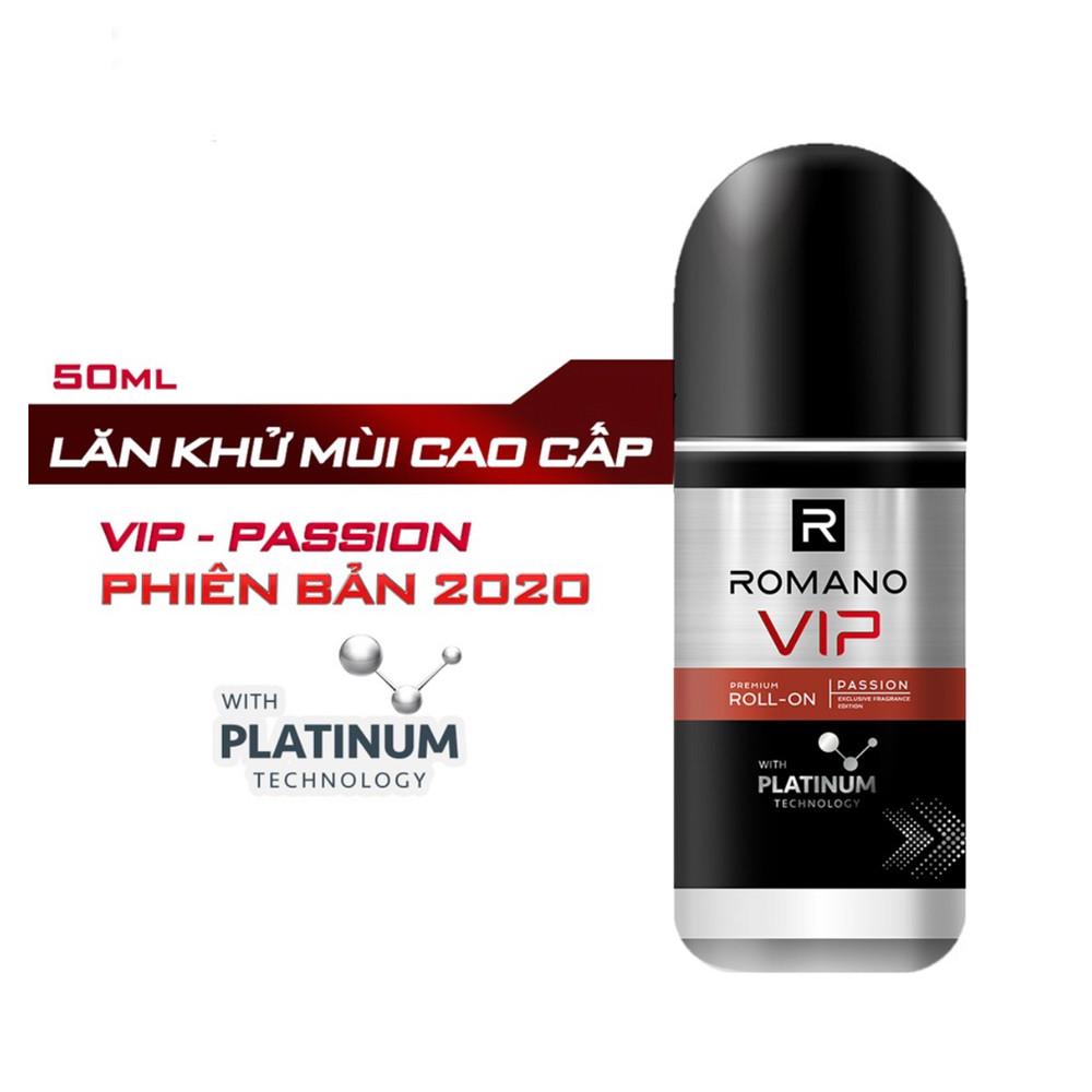 Bộ đôi Lăn khử mùi Romano Vip Passion mạnh mẽ bí ẩn 50m/chai