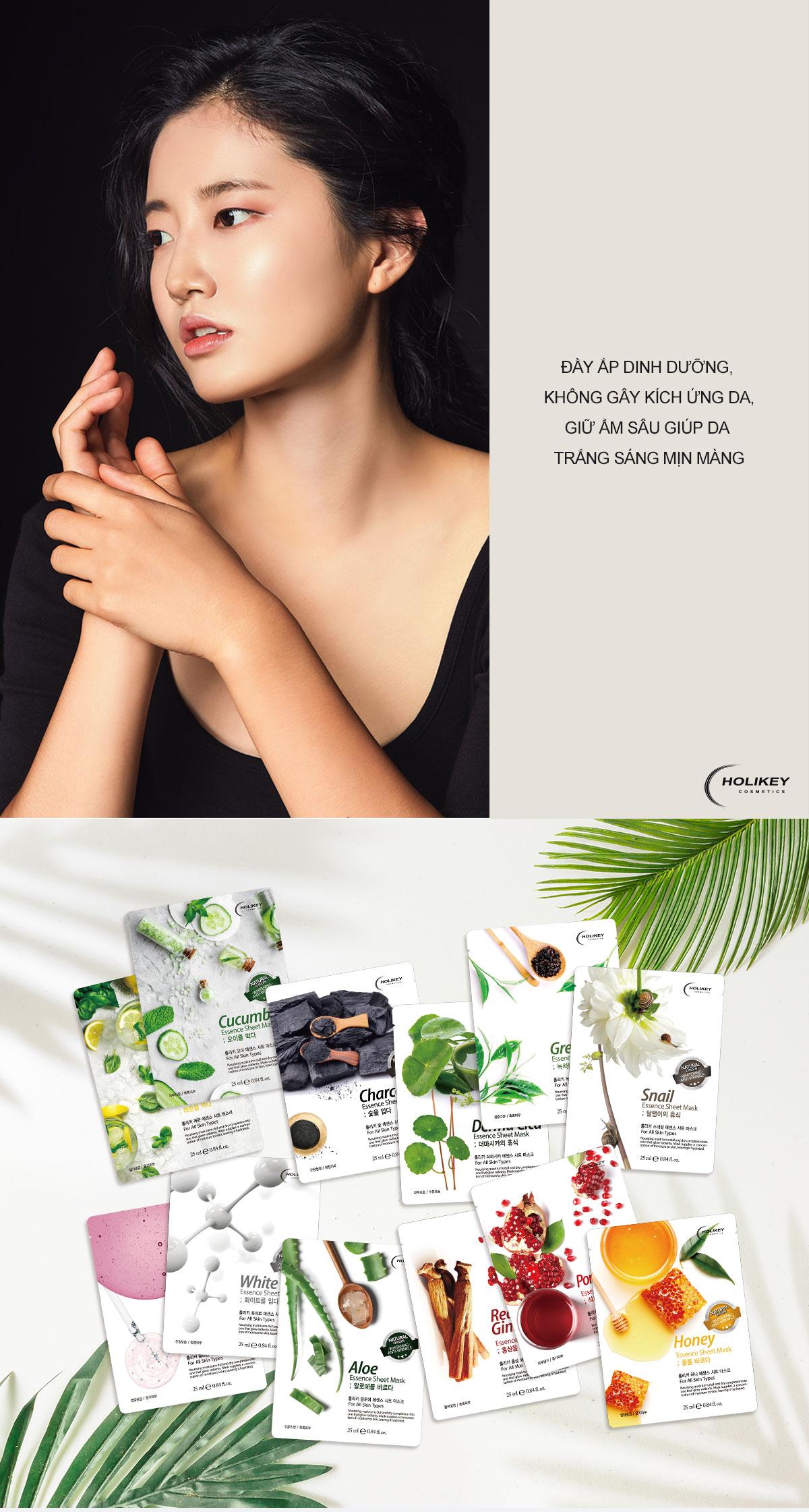 Combo 10 Gói Mặt Nạ Trà Xanh Dưỡng Da Holikey Fresh Green tea Mask Sheet 100% Cotton (25ml/Miếng)