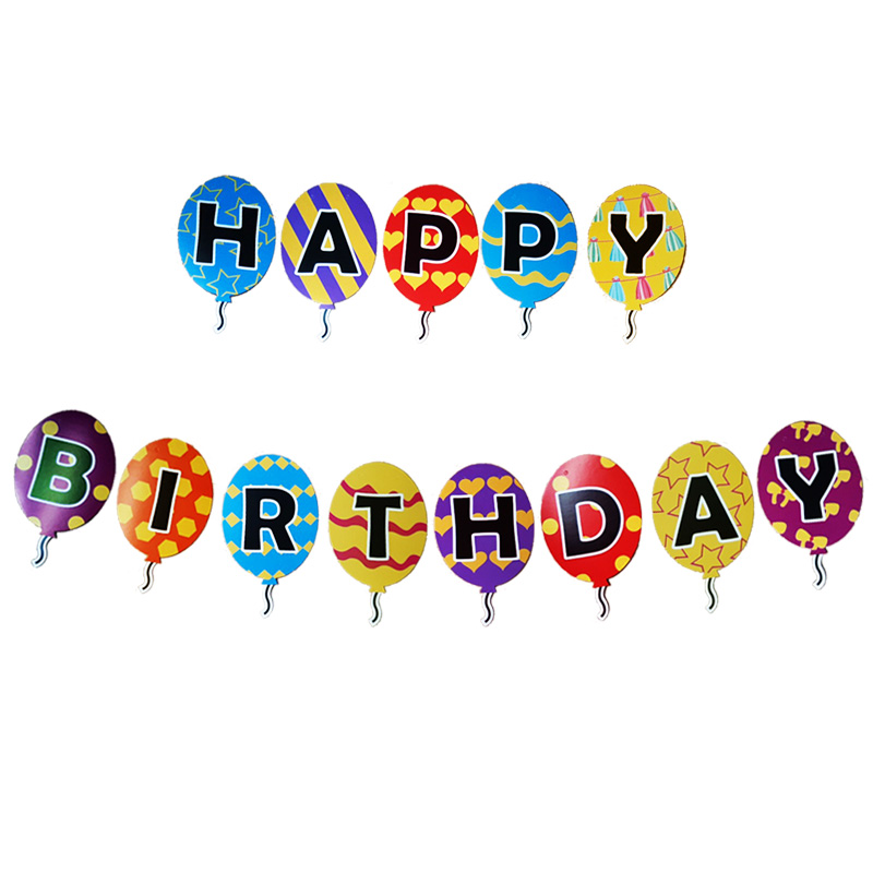 Dây treo sinh nhật Happy Birthday hình bong bóng nhiều màu
