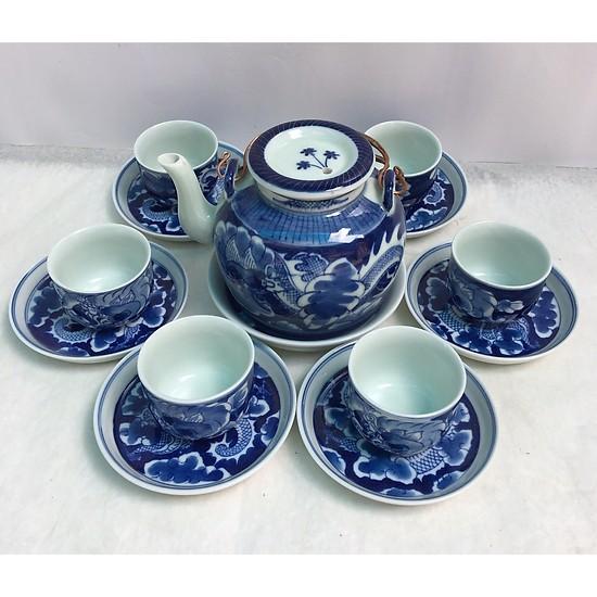 Bộ ấm trà long ẩn gốm Bát Tràng