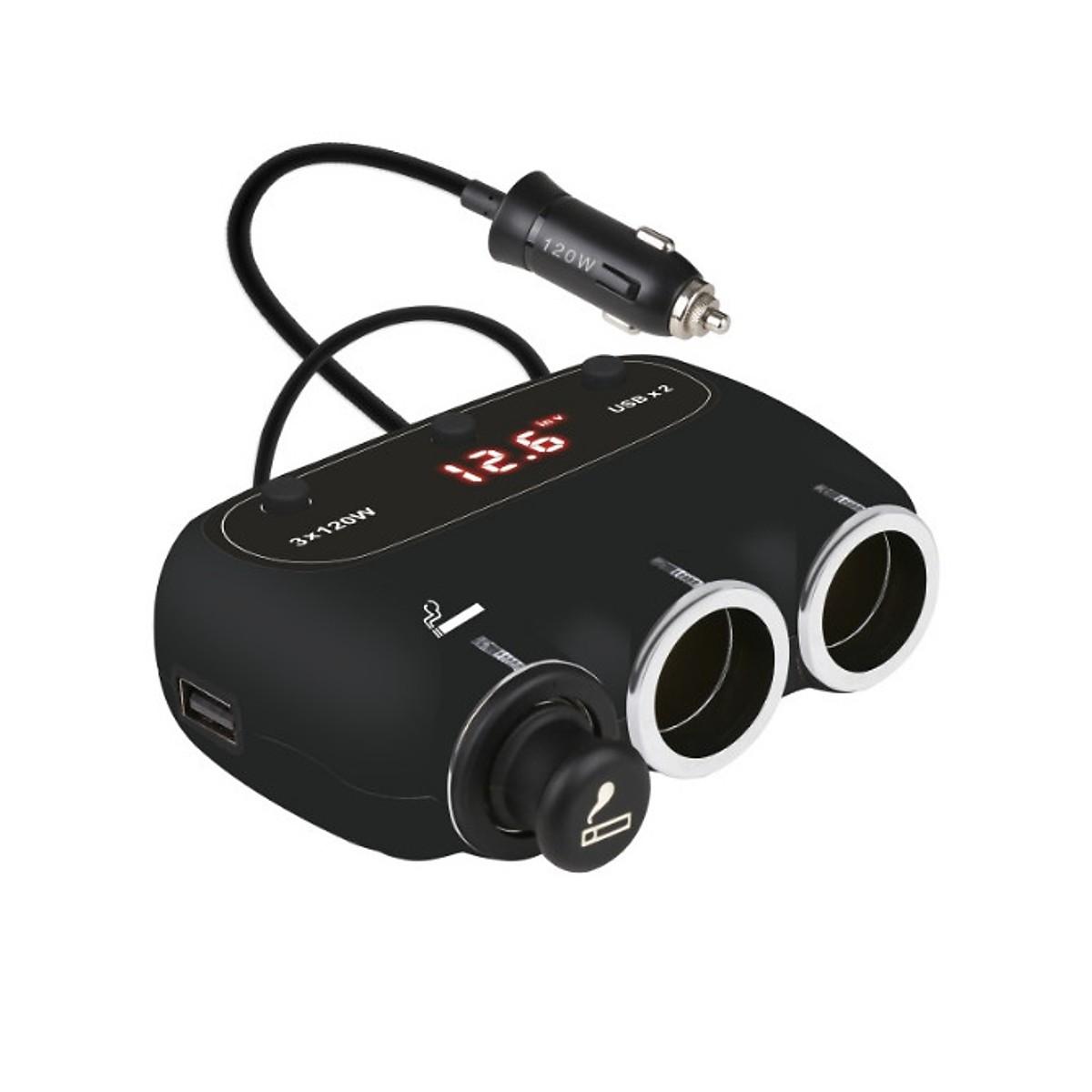 Bộ chia tẩu sạc trên ô tô 558A- 3 TẨU CẮM, 2 CỔNG USB, 3 CÔNG TẮC TẮT/ MỞ RIÊNG (Tặng đèn pin bóp tay mini- Màu ngẫu nhiên)