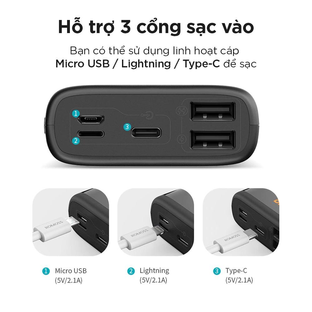 Pin sạc dự phòng Romoss Ares 20 20.000mAh LED 3 cổng input Micro - Lightning - Type C - Hàng chính hãng + Tặng cáp micro USB tròn CB05 Romoss