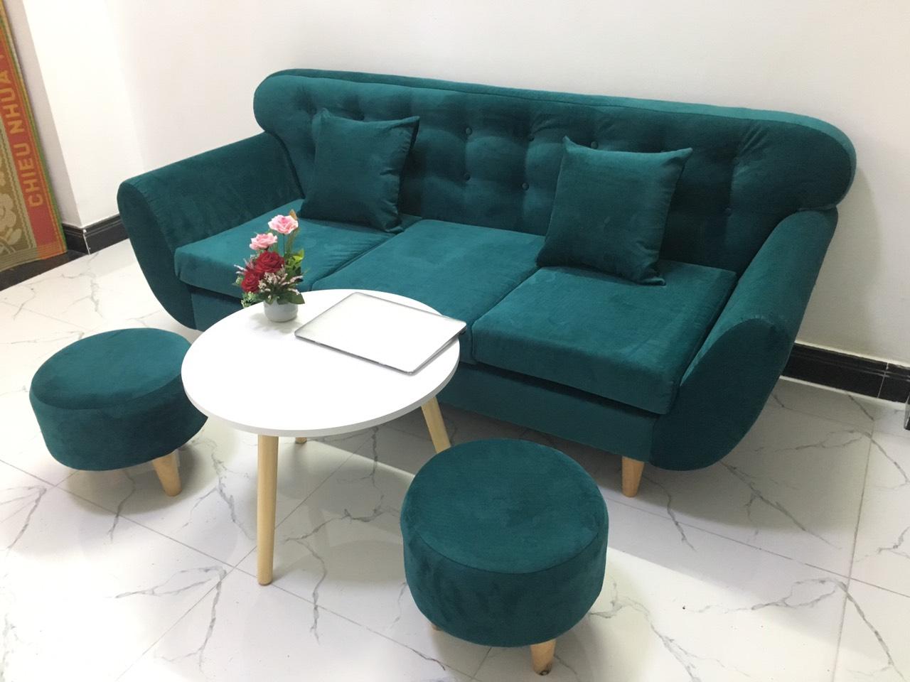 Bộ ghế sofa băng xanh ngọc, salon phòng khách 1m9 PHKH2a
