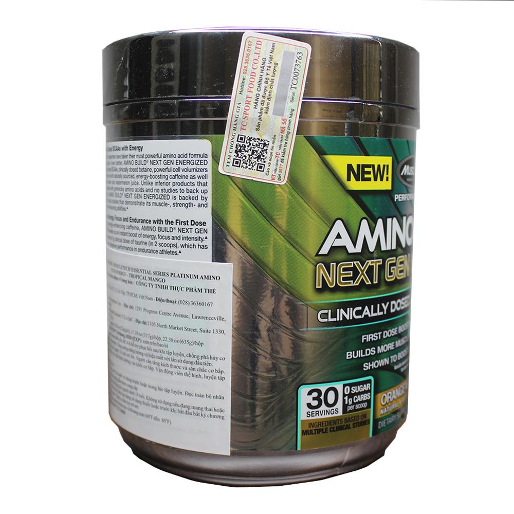 BCAA Amino Build Next gen hương Orange Mango Cooler (Cam Xoài) của Muscle Tech hộp 30 lần dùng hỗ trợ phục hồi cơ, chống dị hóa cơ, tăng sức bền sức mạnh vượt trội, đốt mỡ, giảm cân, giảm mỡ bụng mạnh mẽ cho người tập thể thao