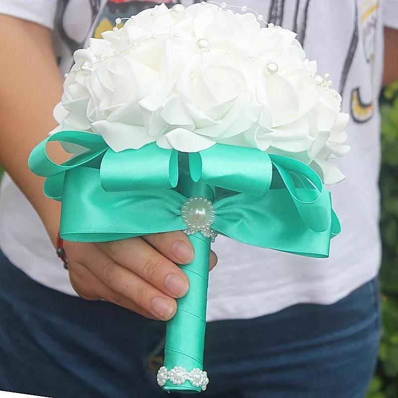 Bó hoa cưới Hàn Quốc tay cầm màu Xanh Tiffany phối Bông màu Trắng