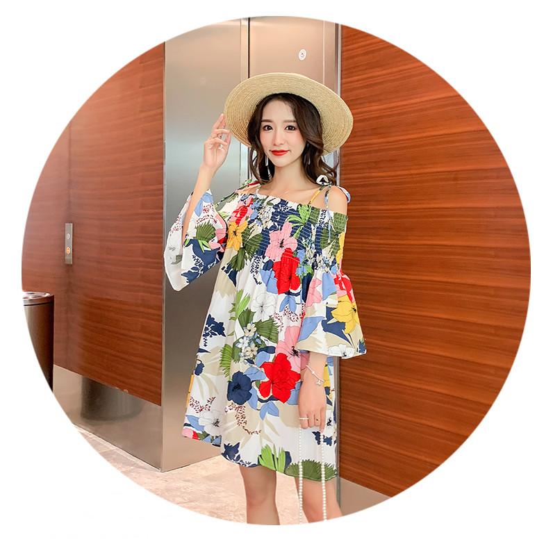Váy bầu hè thu hở vai họa tiết hoa độc đáo DR2584