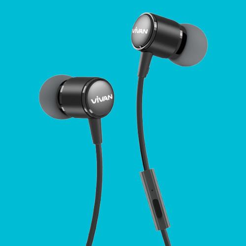 Tai nghe nhét tai có dây Jack cắm 3.5mm Vivan Có Mic/Microphone | Cho iOS/Apple (iPhone/iPad), Android (Samsung, Sony, Xiaomi, Huawei, Oppo) Màu Đen/Xám - Q11 -  Hàng Chính Hãng