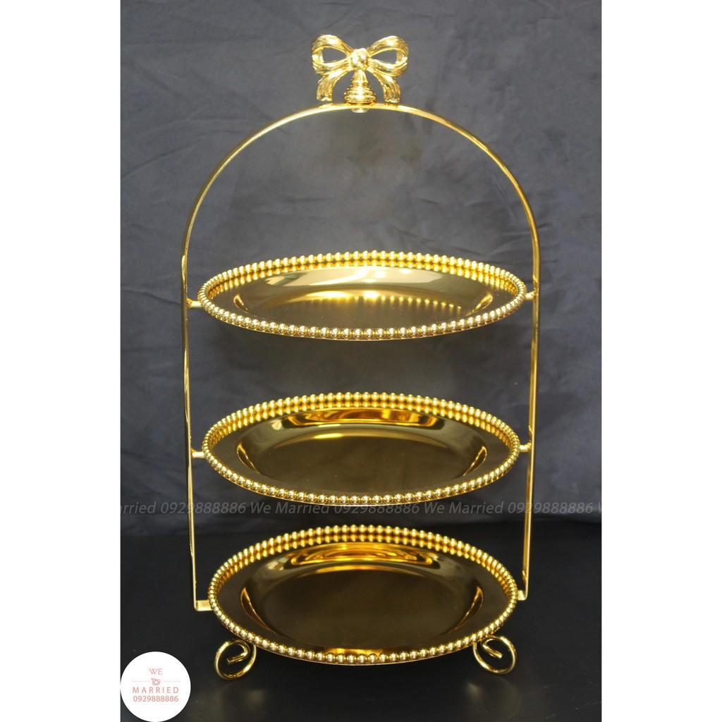 Khay Bánh Nơ 3 Tầng Đĩa Tròn (2 Màu Vàng, Bạc)