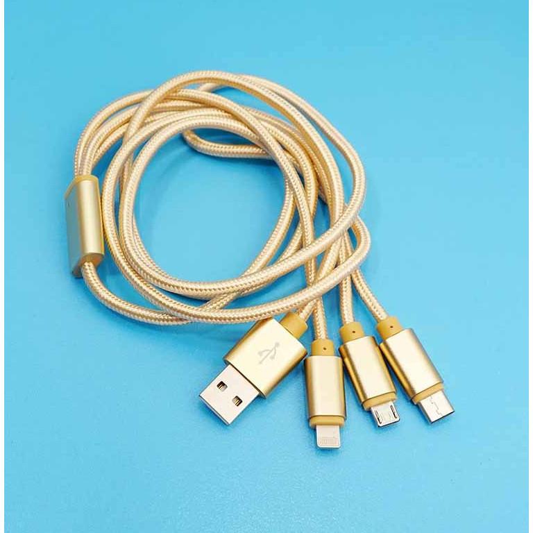Cáp sạc dây dù 3 in 1 Lighting, Micro USB và Type-C 1,2M (màu ngẫu nhiên)