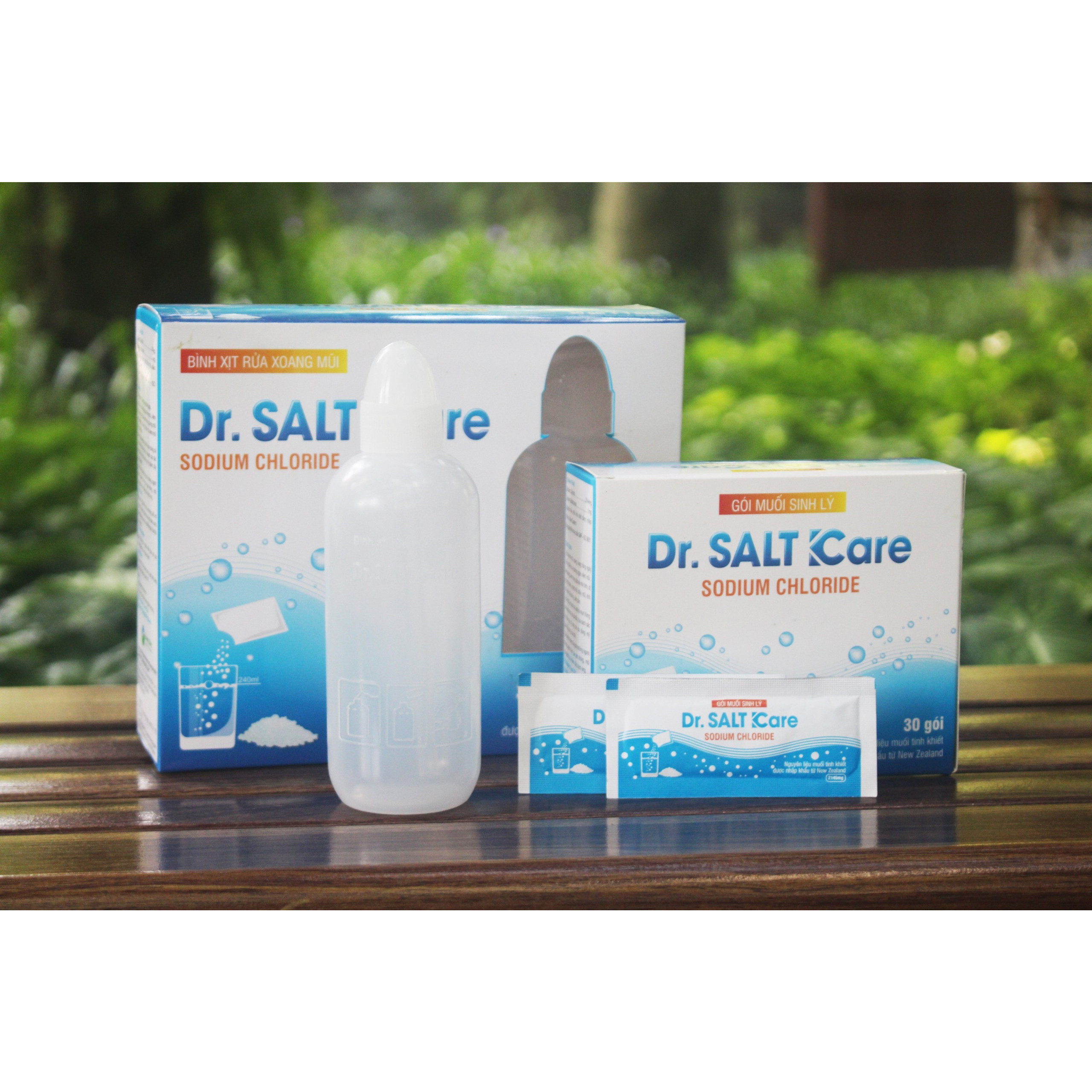 Gói muối sinh lý Dr Salf Kare và bình rửa mũi