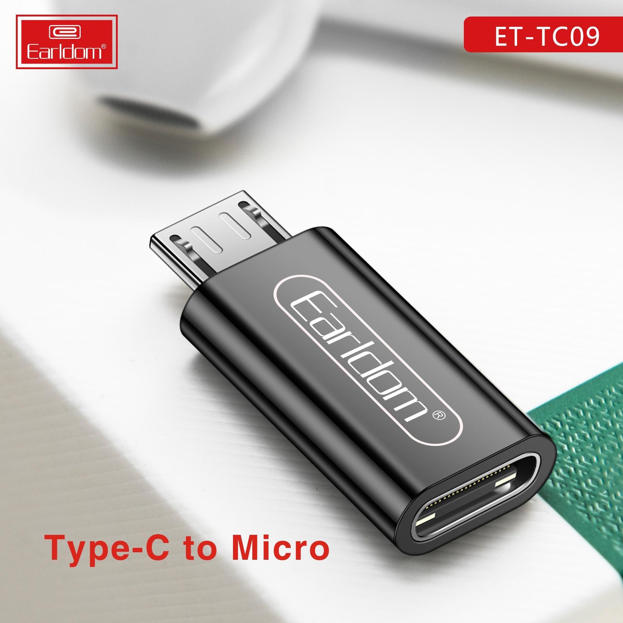 Đầu Chuyển Type C Sang Micro Earldom TC09 (Màu Ngẫu Nhiên) - Hàng Chính Hãng