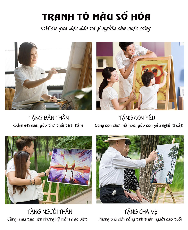 Tranh tô màu theo số CN0835 Tranh hiện đại cô gái và sư tử