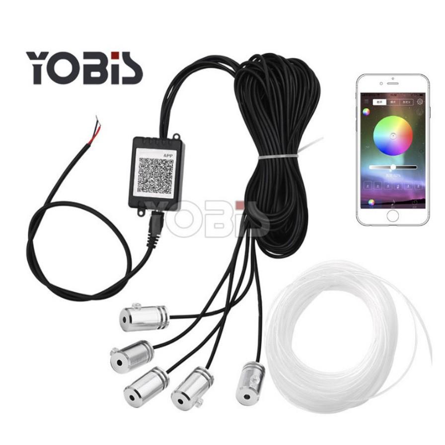 Bộ Đèn led dây sợi quang viền đổi màu nội thất ô tô 6 mét điều khiển đổi màu qua app điện thoại