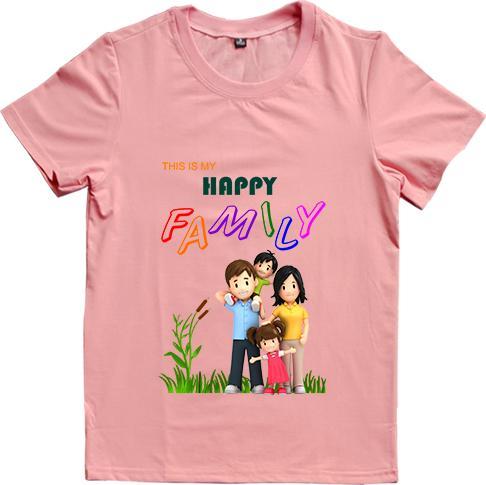 Áo Thun Gia Đình 3 Người In Họa Tiết Happy Family Màu Hồng Ruốc - Cha XL, Mẹ XXL - Size 3