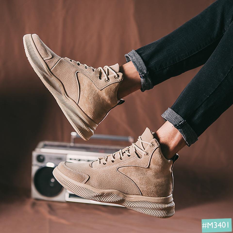 Giày Boot Nam MINSU M3401, Bốt Cao Cổ Thiết Kế Da Lộn Ấn Tượng Phù Hợp Mang Giày Đi Chơi, Đi Học, Đi Phượt