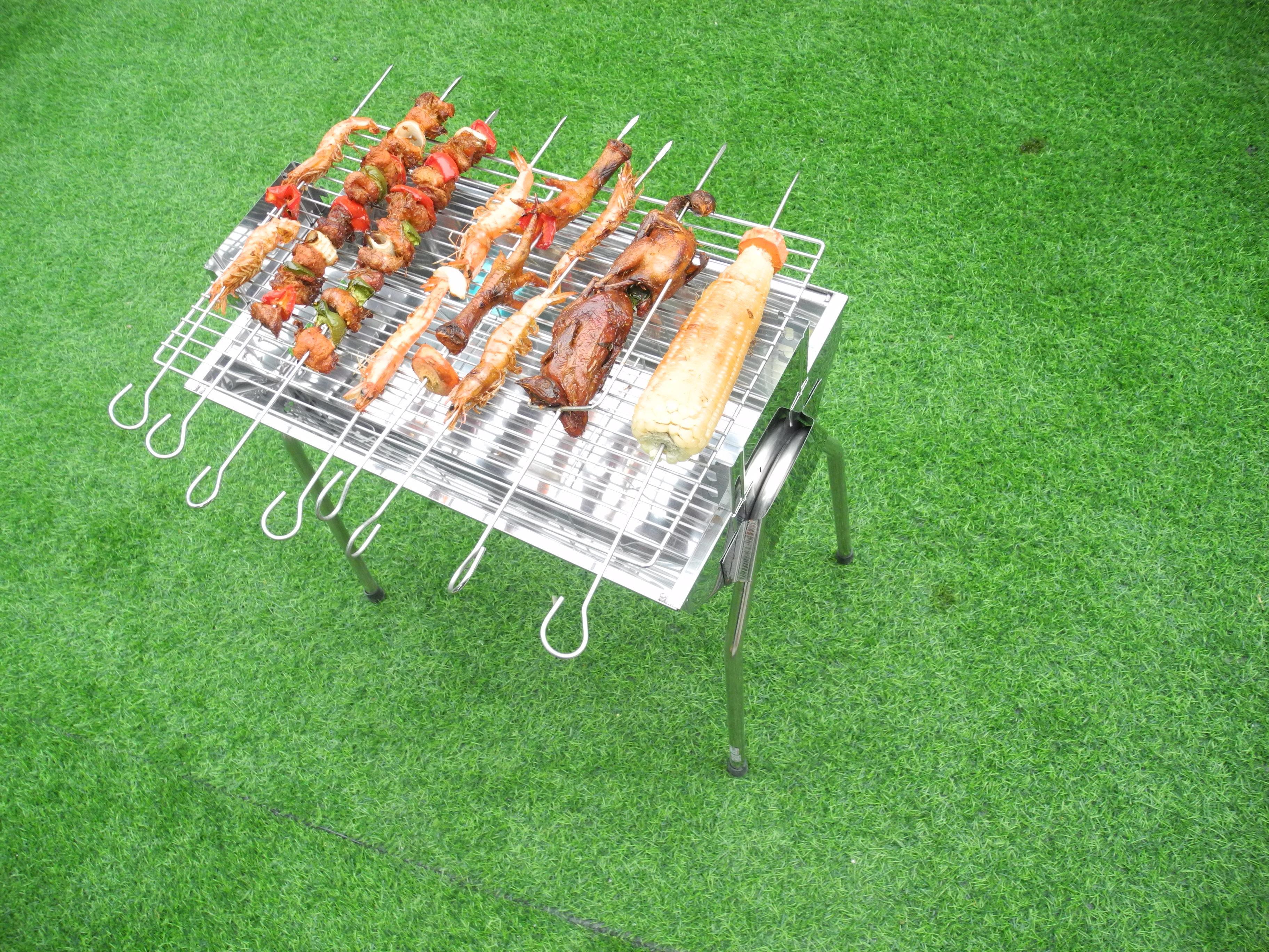 Bếp nướng than hoa VS, Inox không gỉ sét, chống cháy thực phẩm, an toàn sức khỏe, không cần quạt, bếp nướng không khói, bếp nướng ngoài trời, bếp nướng than hoa vuông