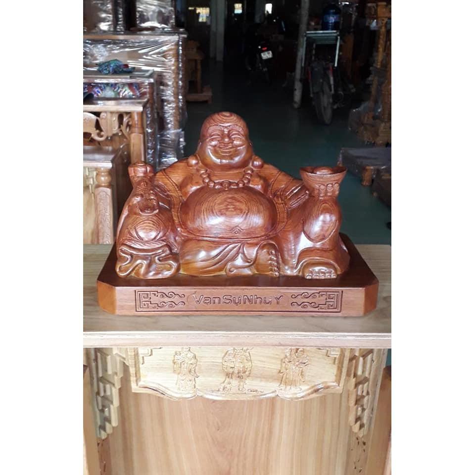 Tượng Phật Di Lạc ngồi gỗ Hương ngang 40CM TPDLH40