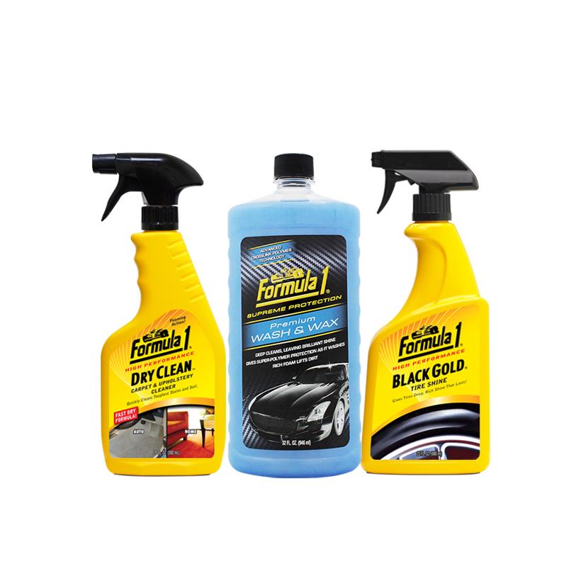 Combo Chăm sóc nội thất ngoại thất xe Formula 1: Giặt nệm khử mùi dạng xịt-Nước rửa xe có chất đánh bóng-Bảo dưỡng đen & bóng vỏ