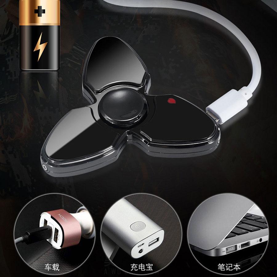 Combo Hộp Quẹt Bật Lửa Hồng Ngoại Sạc Điện Qua Cổng USB Kiểu Dáng Spinner 3 Cách Tạo 18 Hiệu Ứng Đèn Led + Tặng Tai Nghe Bluetooth 7S Cao Cấp
