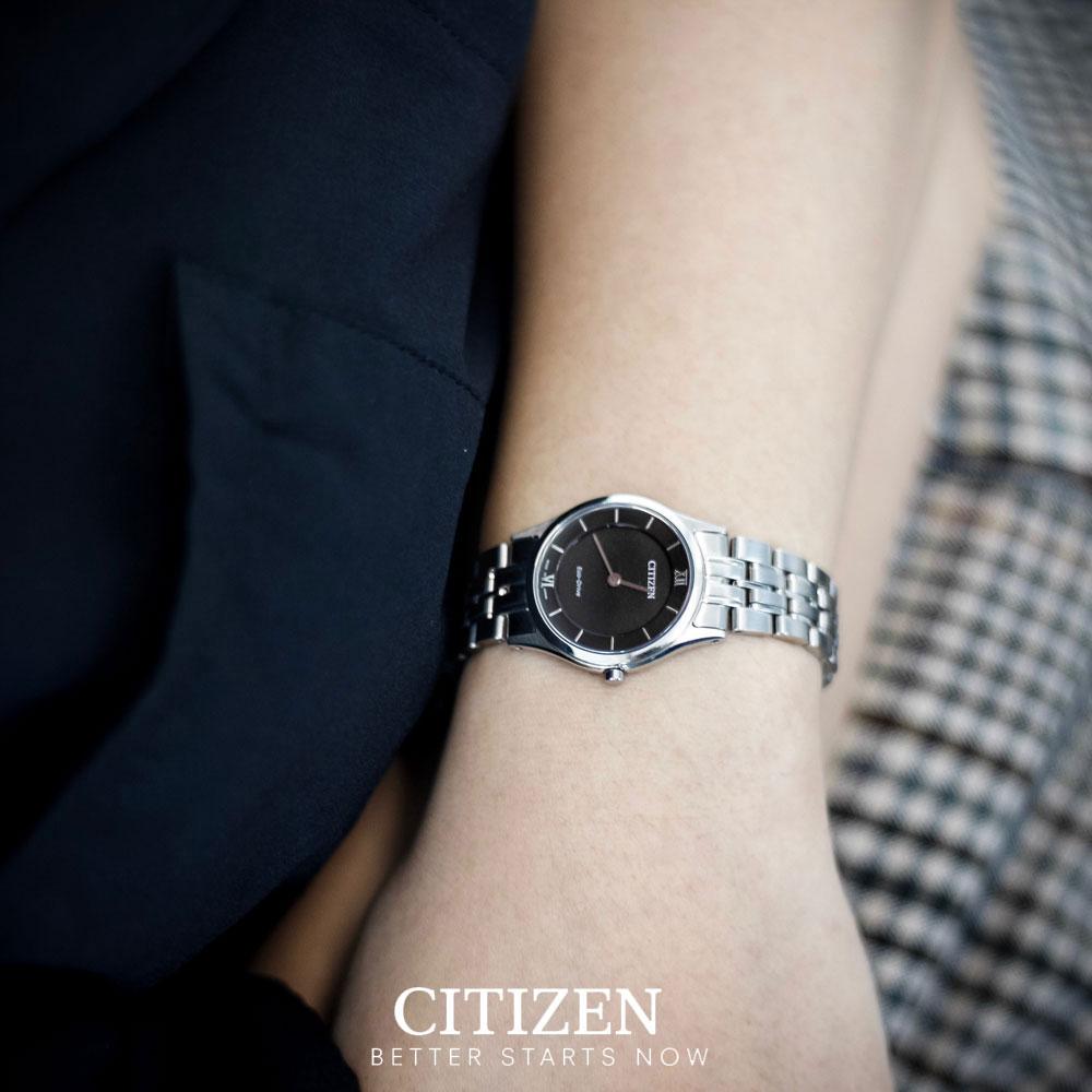 Đồng Hồ Citizen Nữ Siêu Mỏng Dây Kim Loại Máy Eco-Drive EG3220-58E - Mặt Đen (26mm)