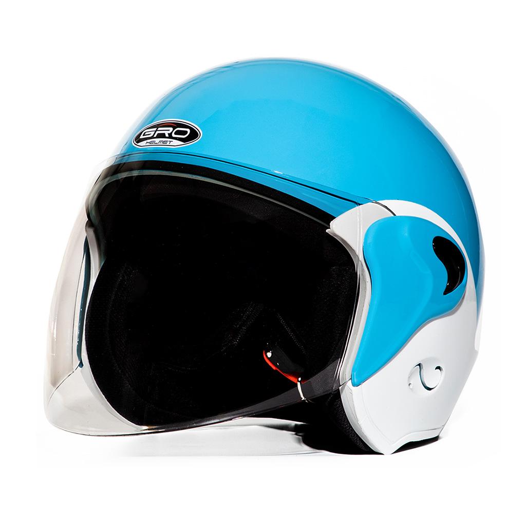 Mũ bảo hiểm 3/4 đầu GRO ST02, nón trùm đầu dành cho nữ có kính dài che mặt, đảm bảo an toàn, size 56-58cm - Hàng chính hãng