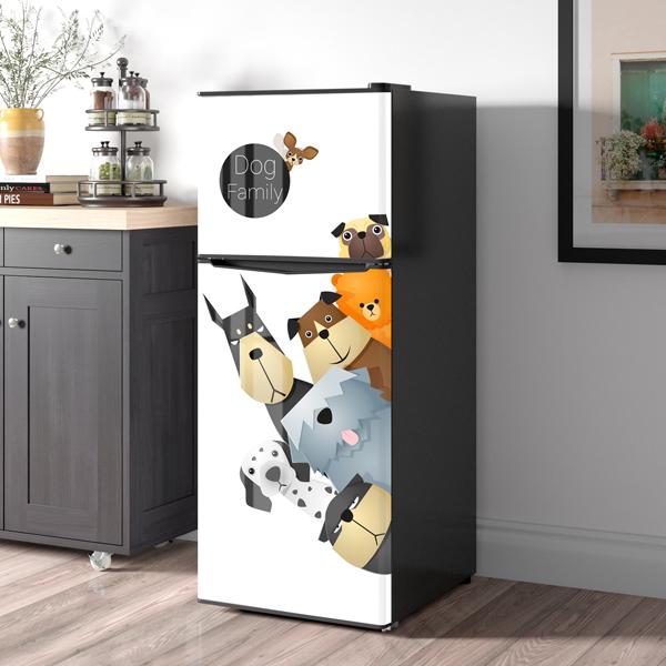 Miếng Dán Trang Trí Tủ Lạnh Những Chú Cún Con Tinh Nghịch - Decal Dán Tủ Lạnh Hiện Đại, Dễ Dàng Tự Bóc Dán, Không Thấm Nước, Không Bay Màu