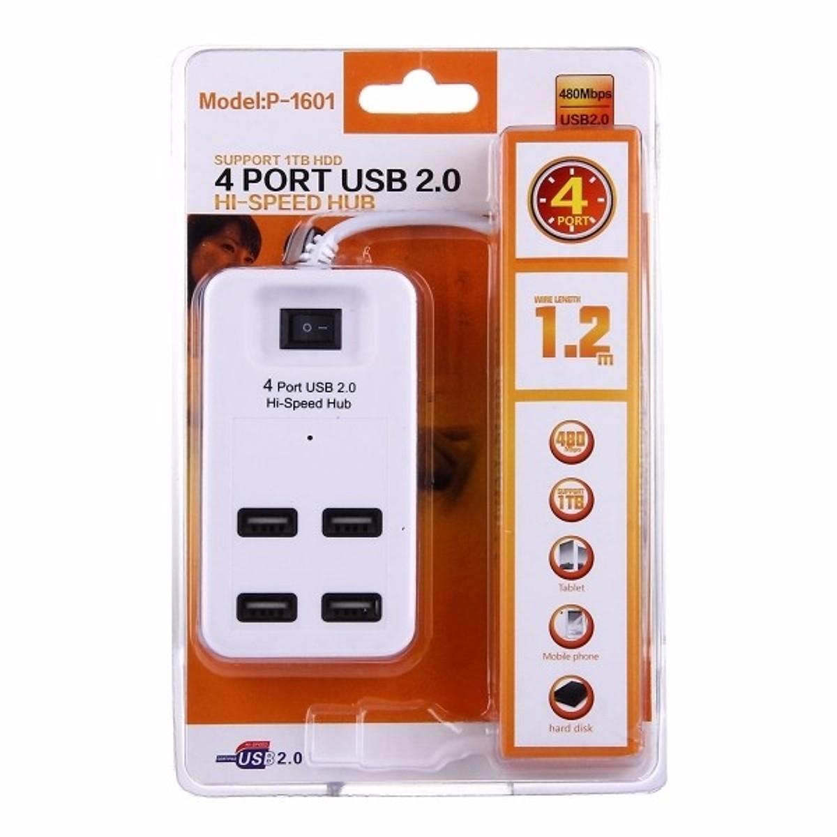 Bộ Chia USB 1 ra 4 có công tắc - Hub USB 4 cổng
