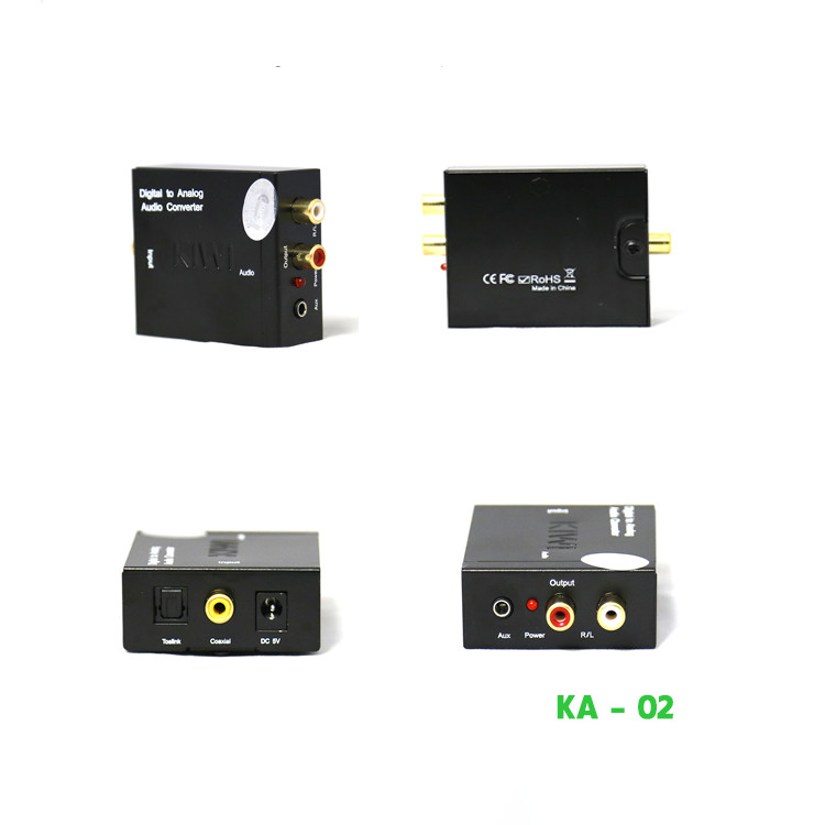 Bộ chuyển đổi âm thanh Optical sang Analog Kiwi KA-02 - Hàng Chính Hãng (Tặng tai nghe Sendem V5 Superbass)