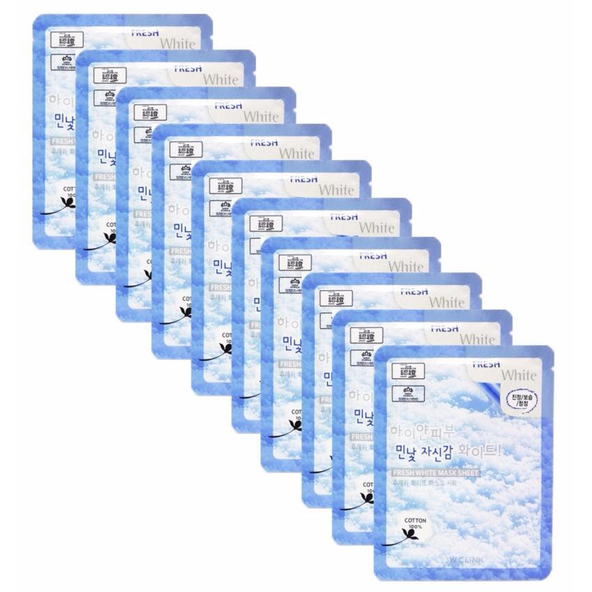 Bộ 10 Gói Mặt Nạ Tuyết Dưỡng Trắng Da 3W Clinic Fresh White Mask Sheet (23ml X 10)