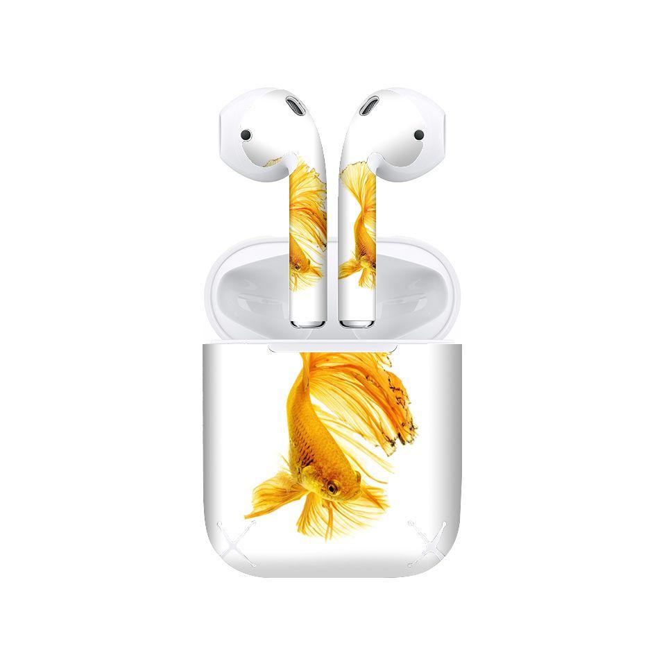 Miếng dán skin chống bẩn cho tai nghe AirPods in hình Cá chọi betta - bet007 (bản không dây 1 và 2)