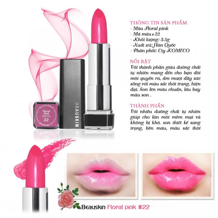 Son môi lâu trôi nhiều dưỡng Beauskin Crystal Lipstick 3.5g ( 22 Hồng tươi) và móc khóa 3