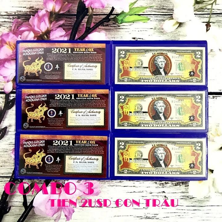 Combo 3 tờ 2 USD hình con Trâu mạ nhũ vàng 2021, dùng để sưu tầm, lưu niệm, làm tiền lì xì độc lạ, may mắn, ý nghĩa