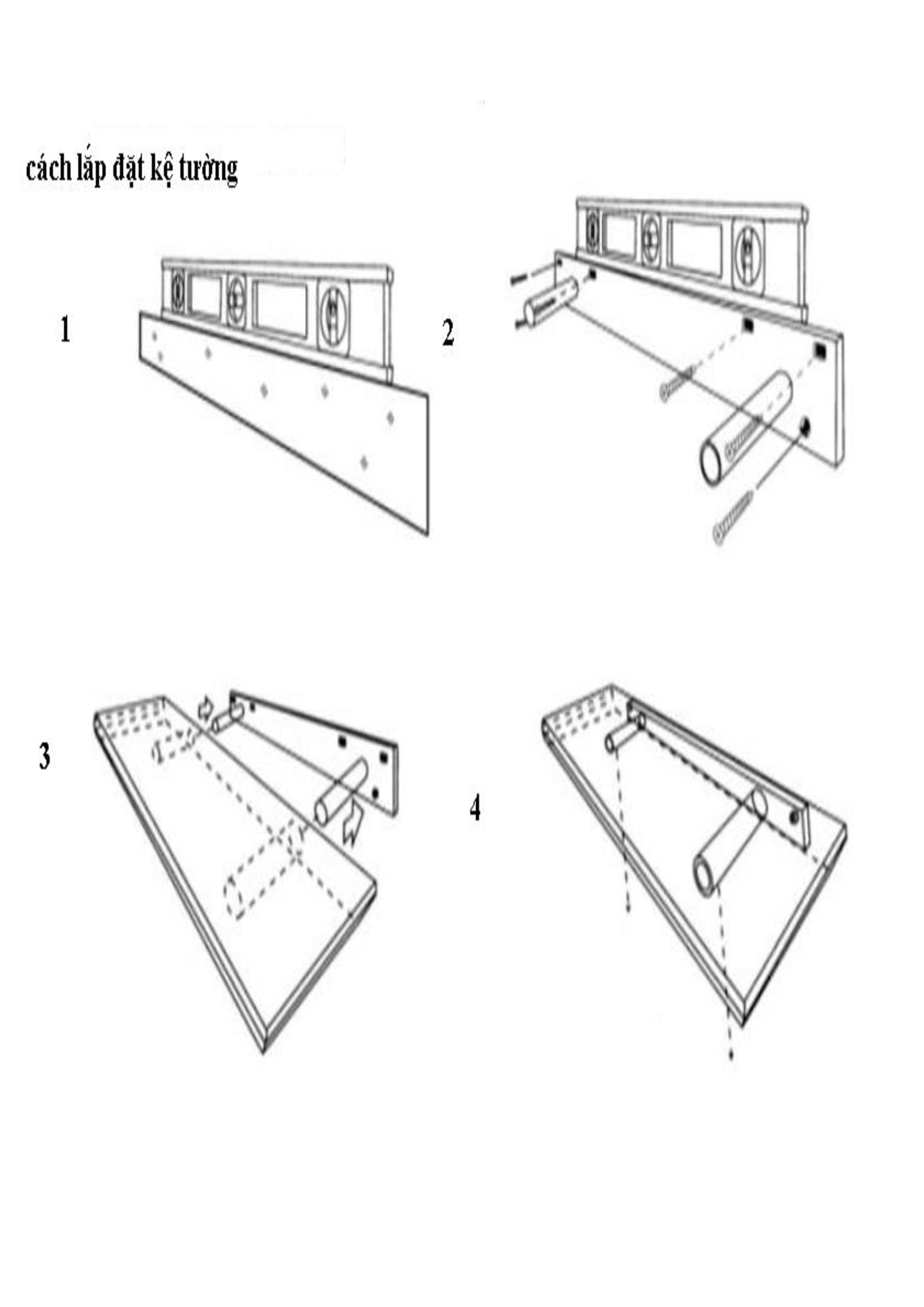 [COMBO] Bộ 2 Kệ treo tường cạnh thẳng American Home Decor - White