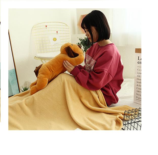 Bộ Gối kèm mền ngủ trưa văn phòng hình ChÓ NGÙ LƯỜI, chức năng 3 trong 1