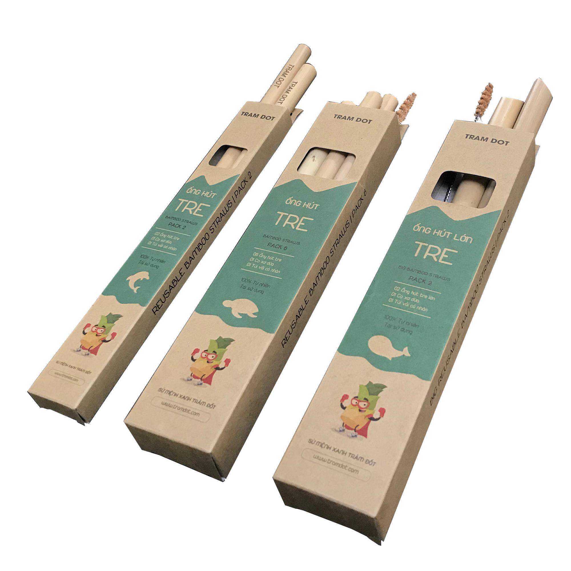 Pack 2 – Ống hút tre size lớn dài 20cm, 100% tự nhiên với cọ vệ sinh xơ dừa