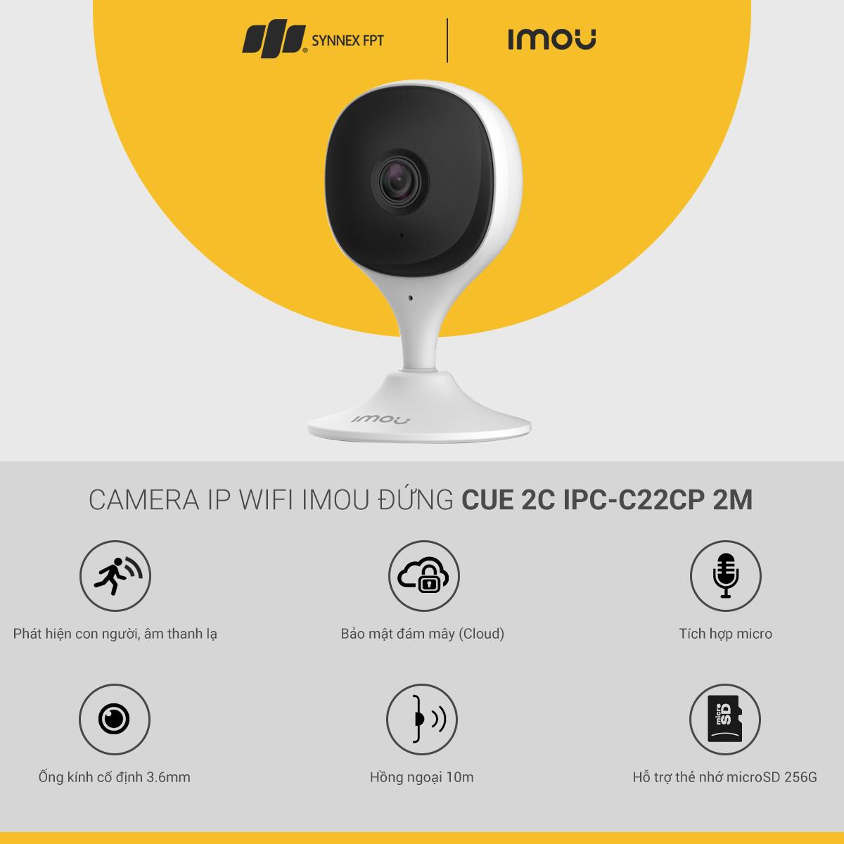 Camera IP WIFI Imou đứng Cue 2C IPC-C22CP 2M, 2Y WTY_IPC-C22CP - Hàng chính hãng