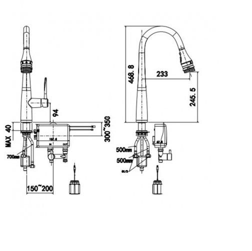 Vòi bếp cao cổ nóng lạnh  cảm ứng đầu phun American Standard -WF-5644(FFAS5644)
