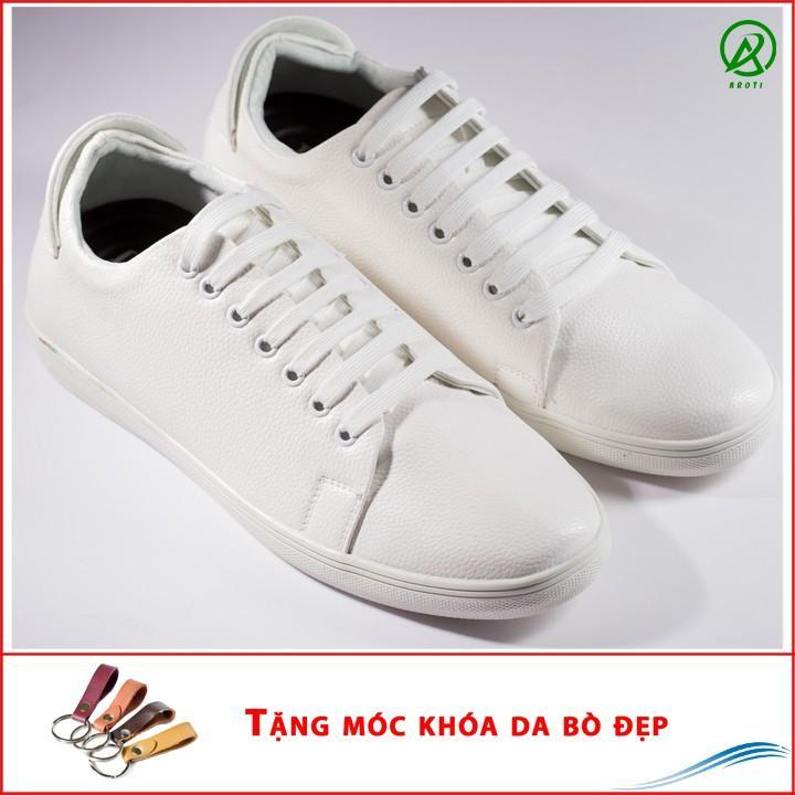 Giày Thể Thao Nam Màu trắng Tăng Chiều Cao 6Cm Không Hề Lộ Cực Đẹp - Cực Chất - Giày M360-TRANG(K)-Kèm Móc Khóa Da Bò