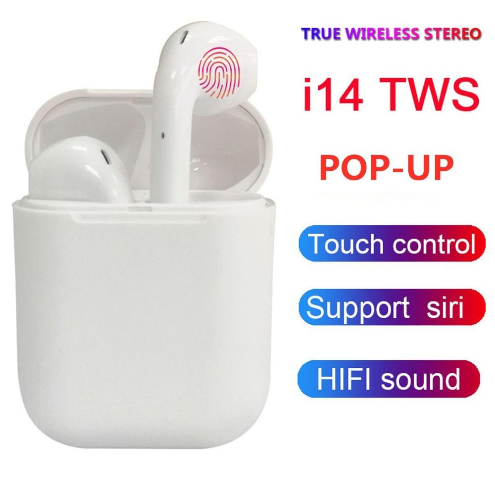 Tai nghe bluetooth I14 TWS thiết kế nhỏ gọn, tỷ lệ 1:1 kèm dock sạc - hàng chính hãng