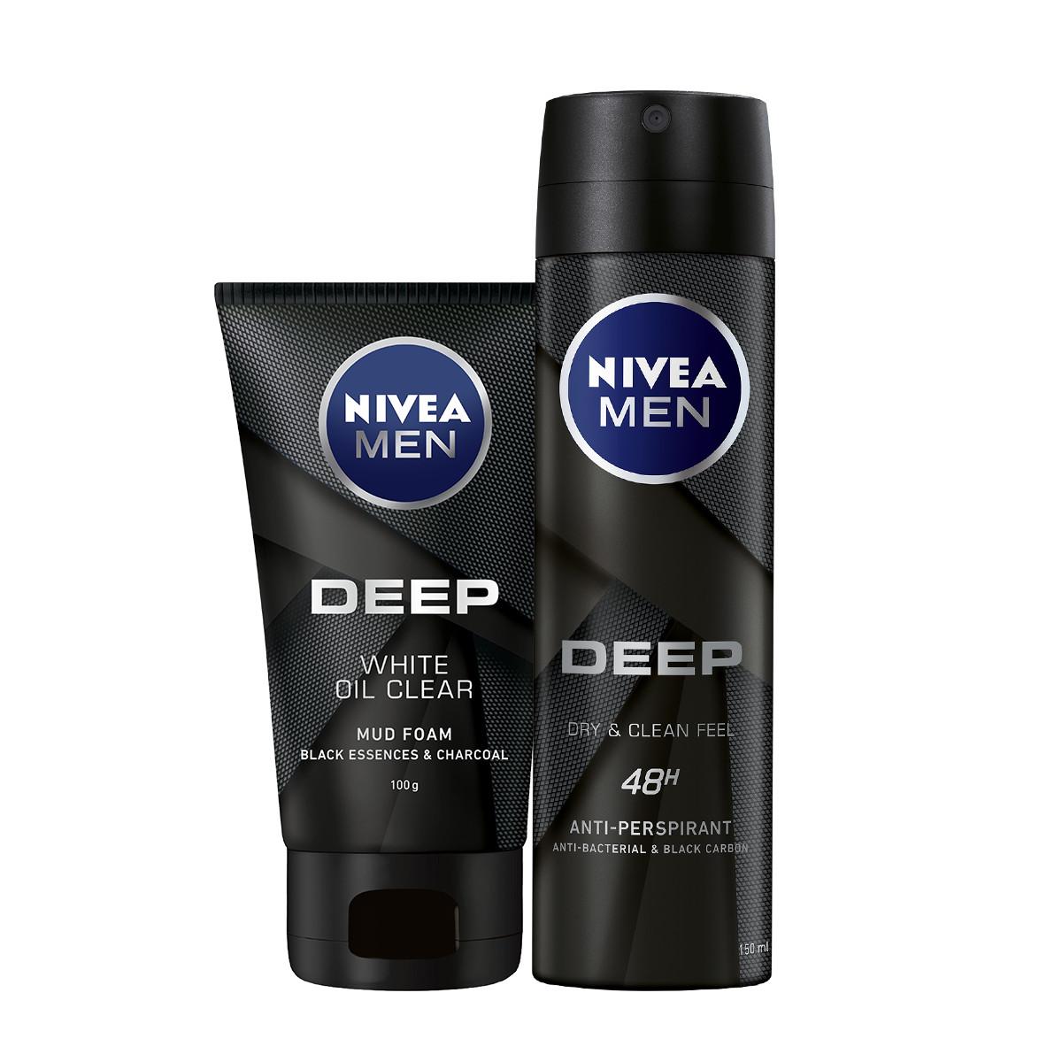 Combo NIVEA MEN Than Hoạt Tính Xịt Ngăn Mùi (150ml) - 80027 & Sữa Rửa Mặt(100G) - 84415
