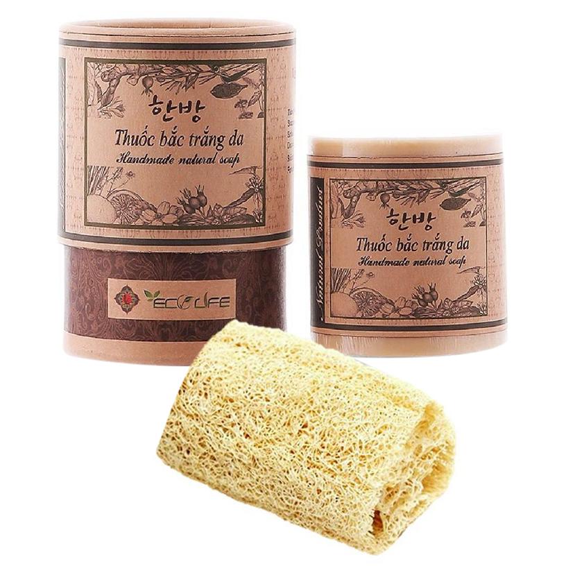 Xà phòng dưỡng trắng tặng xơ mướp - Herbal Handmade Soap