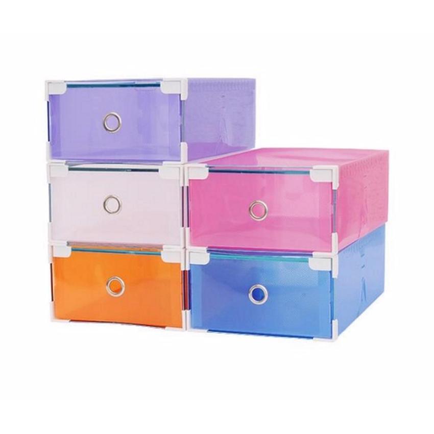 Combo 5 hộp đựng giày ngăn kéo viền kim loại trong suốt (5 màu ngẫu nhiên)
